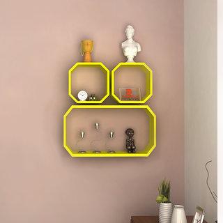 DriftingWood Octagon Shape Floating Storage Wall Shelf Yellow- Set Of 3