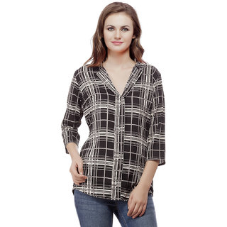MASK LIFESTYLE WOMEN 3/4 SLEEVES CASUAL SLIM FIT BLACK CHECK POLY CREPE SHIRT