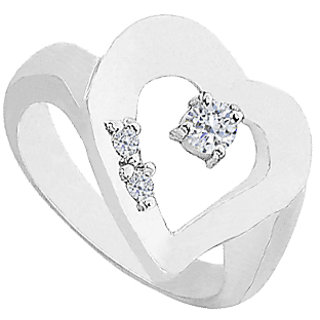 LoveBrightJewelry Heart Cubic Zirconia Ring in 14K White Gold