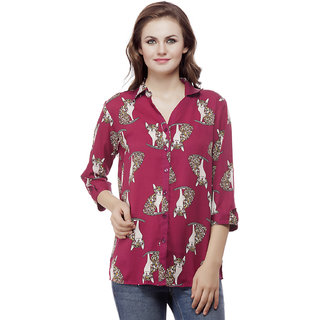 MASK LIFESTYLE WOMEN 3/4 SLEEVES CASUAL SLIM FIT RED ANIMAL PRINT POLY CREPE SHIRT
