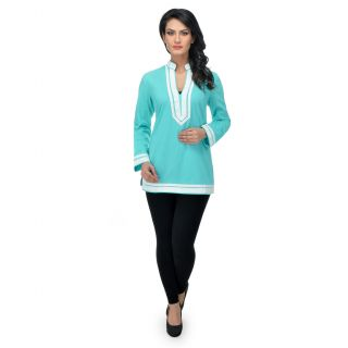Urban Republic Turquoise Cotton Solid Top