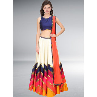 Fabboom Navratri Special White And Orange Semi Stitched Lehenga Choli