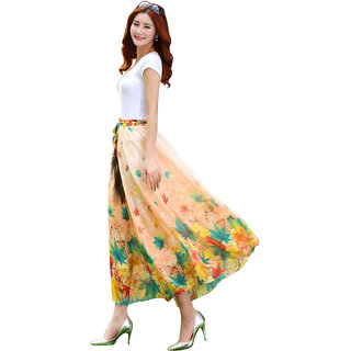 Helix Enterprise Latest Peach Colour Digital Printed Womens Fancy Skirt HFST-36