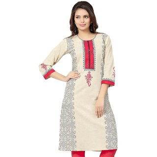 Ethnic Beige Pink Cotton Kurti woman