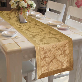 Lushomes Gold Jacquard Runner with High Quality Polyester Border