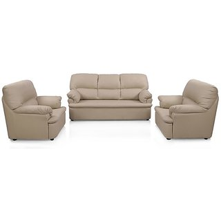 Charmant Earthwood   Typhoon Five Seater Sofa Set (3+1+1) In Beige