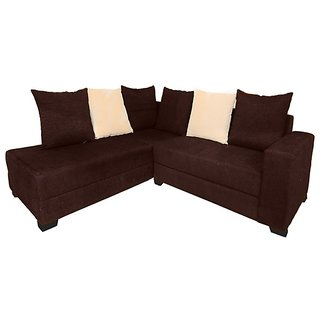 Earthwood -  Floral L Shape Sofa Set with Lounger in Brown