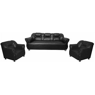 Earthwood -  Spartan  Five  Seater Sofa (3+1+1) in Black