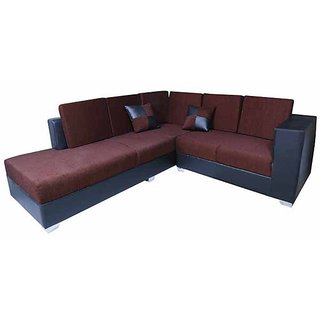 Earthwood -  Rome L Shape Sofa Set with Lounger in Brown