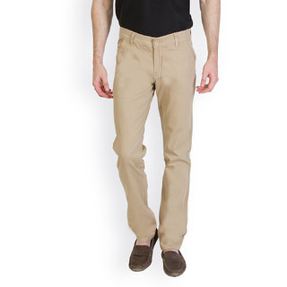 Bloos Jeans Beige Slim Fit Low Rise Mens Chinos