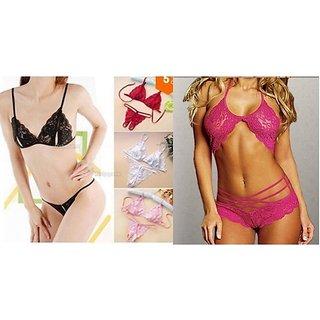 Combo deal- Lingerie Set Halter Neck Set + Crotchless lace set- 2 QTY