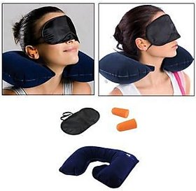 3 In 1 Travel Set - (Neck Pillow, Eye Mask Ear Plug)