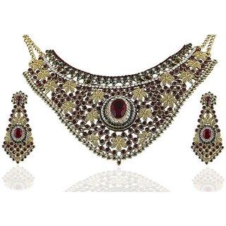 Biyu Zinc Gold Plating Stones Studded Multi Coloured Necklaces Set