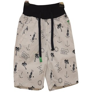 Titrit White And Black Printed Shorts For Boys