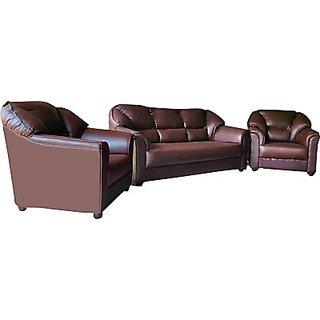Westido Solid Wood 3 + 1 + 1 Brown Sofa Set