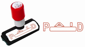Presto Self Ink P A I D  Size  48x9 mm, Colour  Red Rubber Stamp