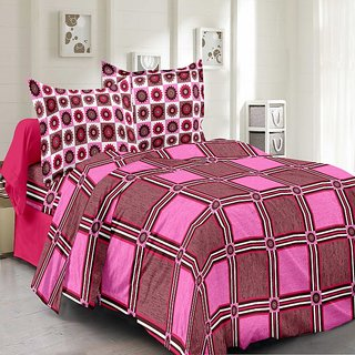 Valtellina Cotton Checkered Pink Double Bedsheet with 2 Contrast Pillow Covers(TC-129)