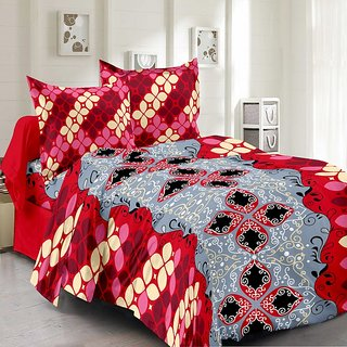 Valtellina Cotton Floral Grey  Double Bedsheet with 2 Contrast Pillow Covers(TC-129)