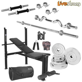 LiveStrong 75 kg chrome steel plates  home gym combo 5 with black bag