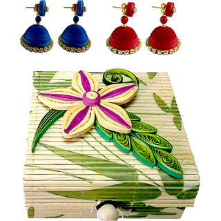 Blue and red dangler earings with designer boxes set 2