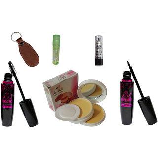 ADS1625 Waterproof EyeLiner / Mascara  / Kajal / Smooth Face Powder Compact /  Lipgloss / Eye care Kajal  With Ashra Keychain
