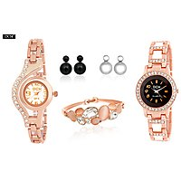 DCH WS 3.2 Set of 2 Designer Rose Gold Analog Watches with Bracelet  2 Ear pin Tops