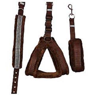Petshop7 Nylon Brown fur 0.75 Inch Small Dog Harness, Collar  Leash