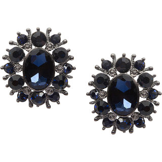 Stoln Blue Silver Plated Studs For Women