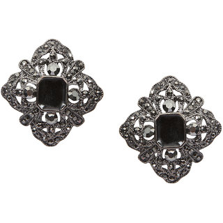 Stoln Grey Silver Plated Studs For Women