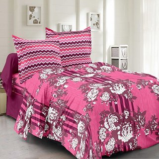 Valtellina Cotton Floral Pink Double Bedsheet with 2 Contrast Pillow Covers(TC-129)