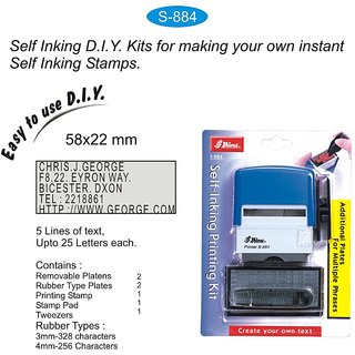 Shiny S-884 Self Inking Stamp Printing Kit DIY Set