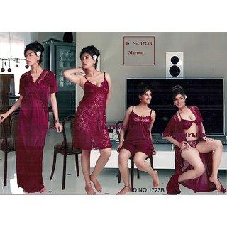 Hot Sleep Wear 6p Bra Panty Top Shorts Nighty  Robe Maroon 1723B Daily Night Dress