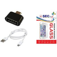 SEC 2.5 D Curve Tempered Glass + Sync  Charge  USB Data Cable +  USB OTG Adapter Non Cable For INFOCUS BINGO 21