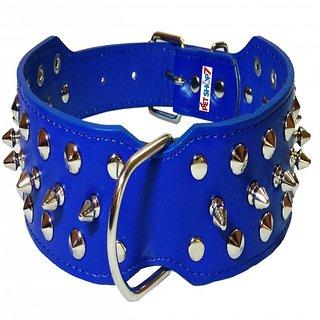 Petshop7 Stylish Brass Spiked Leather Dog Collar - 2 Inch - Large - Blue