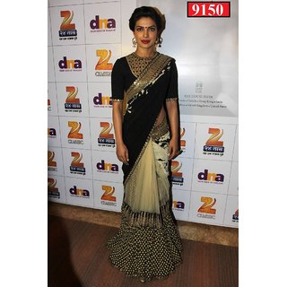 Stylzone Black Georgette Embroidered Saree With Blouse