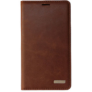 detailed look 6465b 1d83e KMS Rich Boss Flip Cover Case with Stand View Feature For Samsung Galaxy  On7 (Brown)