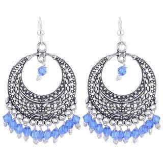 Sheelas Blue color white metal chandbali for women code no411