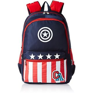 Captain America Waterproof School Bag (Black, Red, 19 inch) 8901736089289