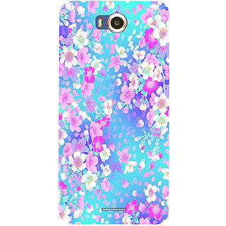 Casotec Floral Blue Pattern Design Hard Back Case Cover for Infocus M530