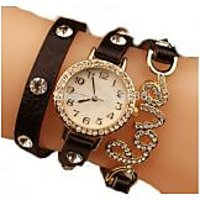Ladi Round Dial Brown Leather Strap Analog Watch For Wo
