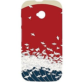 Casotec Sea Waves Design Hard Back Case Cover for Motorola Moto E 2nd Generation