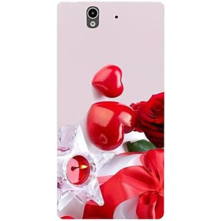 Casotec Valentines Day Gift Candle Heart Couple Rose Design Hard Back Case Cover for Sony Xperia Z