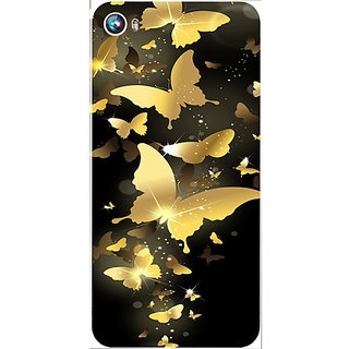 Casotec Golden Butterfly Pattern Design Hard Back Case Cover for Micromax Canvas Fire 4 A107