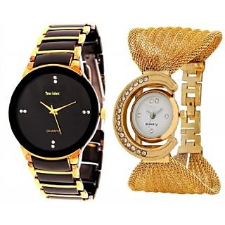 LADI Round Dial Gold Fabric Analog Watch For Women