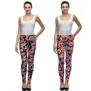 Tara Lifestyle Printed Stretchable Leggings for Womens (Pack of 2)