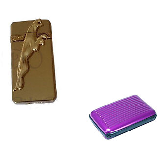 Golden Jaguar Refilling Cigarette Lighter With Purple Aluma Wallet