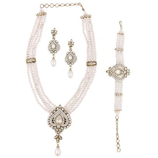 The Jewelbox American Diamond Pearl Victorian Pan Necklace Earring Bracelet Set