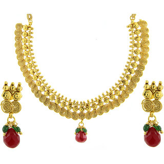 The Jewelbox Red Temple Antique 22K Gold Plated Traditional Necklace Earring Set For Women