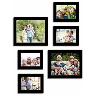 Elegant Black Photo Frame Collage Collection - Set of 6