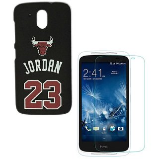 YGS Printed Matte Back Cover Case Jordan For HTC 526-Black With Tempered Glass